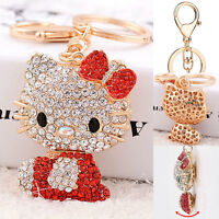 Red Hello Kitty Cute Key Chain Crystal Ring Purse Car Bling Pendant Decor Wallet