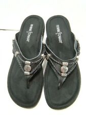 MinneTonka Womens Flip Flop Sandals Size 7 Black Leather Style 700001  #B