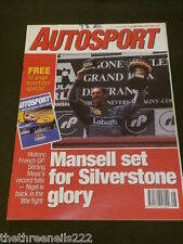 AUTOSPORT - MANSELL SET FOR SILVERSTONE GLORY - JULY 11 1991