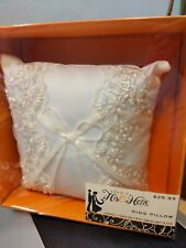 New listing Studio His and Hers Wedding Ring Pillow w/Embroidery / Beaded Details