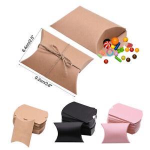 50Pcs Kissen Candy Box Kraftpapier Geschenkverpackung Candy Taschen Hochzeit sw