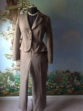 Ann Taylor Petite Brown Long Sleeve Lined Pant Suit Blazer Size 6 Pants Size 12