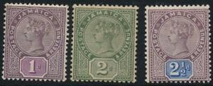 Jamaica 1889 SG 27-29 MM cat. £45