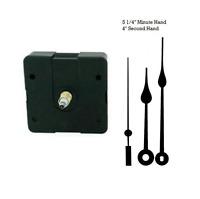 "Clock Movement Mechanism Quartz kit 5 1/4"" Black Spade Hands for 1/4"" thick dial"