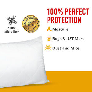 QUILTED PILLOW PROTECTORS POLY COTTON ZIPPED PILLOWS COVERS PACK OF 4 PILLOWCASE