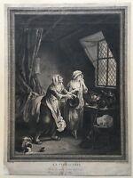 GUILLAUME LEMARCHAND (1673-1719) KUPFERSTICH - LA CONVICTION BAROCK - 39 X 29 CM