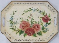 Vintage Painted Floral Flowers Toleware Metal Rectangular Tray Handles Platter