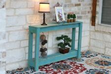 TURQUOISE RUSTIC ENTRY TABLE 46''