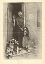 A Real Thanksgiving, Poor, Poverty, Charity, Vintage 1896 Antique Art Print