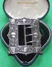 Old Art Nouveau White Metal Continental Silver Love Heart Buckle Valentine Gift