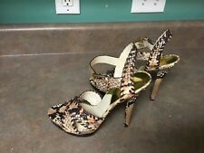 The Jet Set 6 Michael Kors Leather Animal Print Strappy Heels Size 8.5 (CON7)