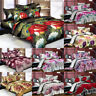 3/4Pcs 3D Printed Rose Wedding Bedding Sets Flat Sheet Pillowcase Quilt Cover