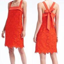 NWT Banana Republic Limited Edition Bow Back shift Lace dress Orange/Coral Sz 4