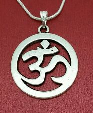 Silver Plated Ohm Necklace charm pendant and chain aum yoga mantra meditation om