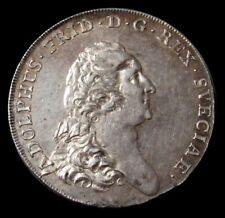 1770 AL SILVER SWEDEN 3 DALER (RIKSDALER) ADOLF FREDERICK ABOUT UNC CONDITION