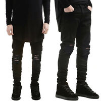 Mens Ripped Skinny Biker Jeans Distressed Slim Fit Denim Pants Pencil Trousers