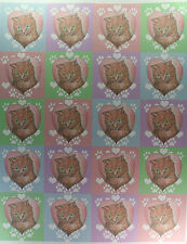 "60 Cat Love Round Stickers 3 Sheets 2"" Peel Stick Orange Kitty Pink Heart Kitten"