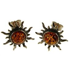 Baltic Amber Sterling Silver 925 Ladies Stud Sun Shape Earrings Jewellery Gift