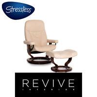 Stressless Consul Leder Sessel inkl. Hocker Creme Relaxfunktion Funktion