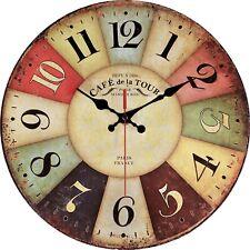 "Vintage Rustic Wall Clock 12"" Round - Silent Kitchen Wall Clocks Battery Oper..."