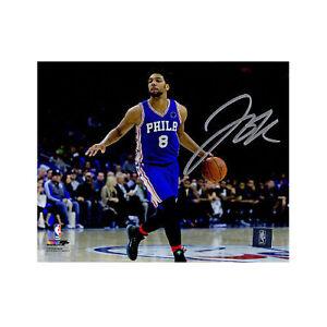 Jahlil Okafor signed Phidelphia 76ers 8x10 Photo (blue jersey) - Schwartz Holo