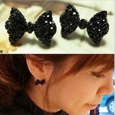 1Pair New Cute Black Rhinestone Crystal Bowknot Bow Tie Stud Earrings