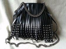 NWT Auth Stella McCartney Mini Falabella Tote Studded Fringe Shoulder Bag Black