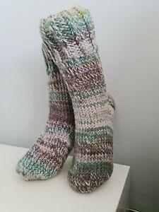 Hand knitted warm wool socks 4.5-5.5 UK size winter/bed socks slippers🧦long