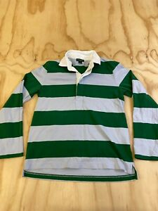 J CREW MEN SIZE SMALL GREEN & GRAY STRIPED LONG SLEEVE RUGBY POLO SHIRT