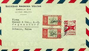 BOLIVIA 1952 TENNIS CHAMPIONSHIP 3v ON AIRMAIL COVER TO SWITZERLAND