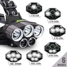 9500LM 5 LED CREE T6 LED Headlamp Head Light Flashlight Rechargeable Torch Lamp