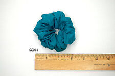 Silk Scrunchies Ponytail Holder Elastic Ties Hair Band Turquoise Peacock Blue 14
