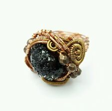 Steampunk ring,victorian style,unique glass ring, folk,goth,womens cosplayer
