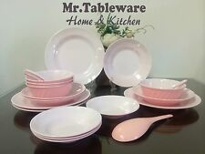 21-Piece Melamine Dinnerware Set Bowl Plate 2-Tone Pink/White (FDA Compliance)