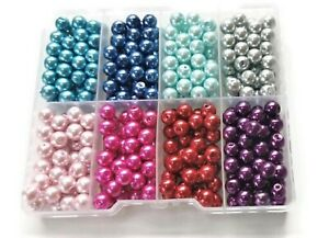 8mm x 400  faux Round Glass Pearl Beads for Jewellery making diy crafting vase