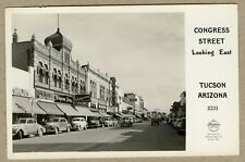 Vintage Real Photo Postcard Congress Street Tucson Arizona Walgreen's Old Cars