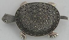 Vintage HUGE sterling silver & Hematite figurative Turtle pin, brooch or pendant