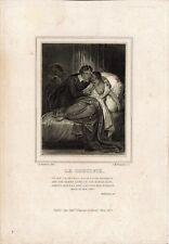 A. DEVERIA - Le Crucifix - Incisione su rame del 1825 - Rif. 270 V