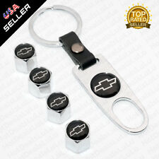 Chrome Car Wheel Tyre Tire Valve Dust Stems Air Caps Keychain Chevrolet Emblem