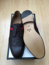 NEW GUCCI SHOES BROWN MENS UK 10.5 EU 44.5 LEATHER LACE DRESS WEB OXFORD