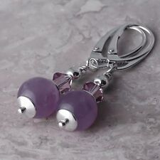 Sterling Silver Long Leverback Dangle Earrings Gemstone Ball Natural Amethyst