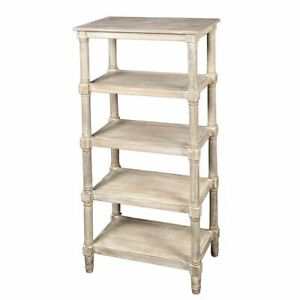 Shelf,Wood Whatnot IN Country Style With 5 Soils,Antique Wall Shelf Shabby White
