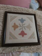 """New listing Finished Cross Stitch Multi Color 12"""" Square in Wood Frame - Fine Work"""