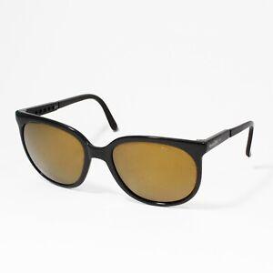 Bolle 100 Vintage Sunglasses Cat Eye Irex Model 396 Black with Gold Lens France