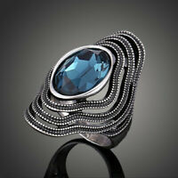 Vintage Blue Sapphire Oval Diamond Ring Silver Women's Engagement Jewelry