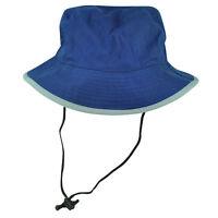 Fisherman Sun Bucket Crusher Hat Blue Grey Brim Outdoors Camping One Size Blank
