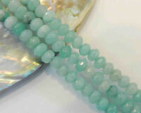 """4X6mm Light Blue Faceted Aquamarine Loose Beads 15"""""""