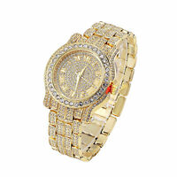 Hip Hop Men's Iced Out Gold Plated Lab Crystal Spinner Metal Band Wrist Watch