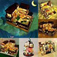 DIY Wood Handmade Dolls House Miniature Kit Set LED Dollhouse Furniture Toy Gift