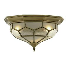 2x Searchlight Flush Fitting Ceiling Light Antique Brass Finish